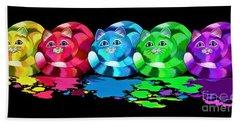 Rainbow Painted Cats Bath Towel