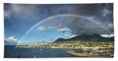Rainbow Panorama Over Olivees Mountain On St. Kitts Island Bath Towel