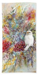 Hand Towel featuring the painting Rare White Sparrow - Portrait View. by Ryn Shell