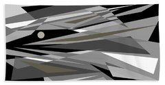 Reaction - Black And White Abstract Bath Towel