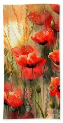 Real Red Poppies Bath Towel