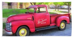 Red 1950 Chevy 3100 Pickup Bath Towel