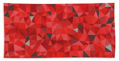 Red And Gray Triangular Pattern - Triangles Mosaic Bath Towel