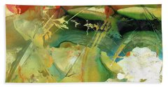 Red And Green Abstract - Soul Flight - Sharon Cummings Hand Towel