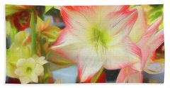 Red And White Amaryllis Bath Towel