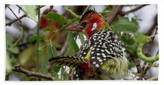 Red-and-yellow Barbet Bath Towel