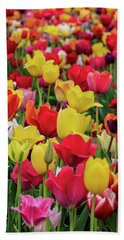 Red And Yellow Tulips Bath Towel