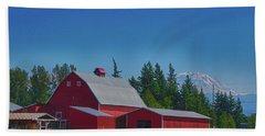 Red Barn With Mount Rainier Bath Towel