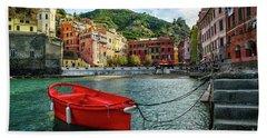 Red Boat Vernazza Cinque Terre  Bath Towel