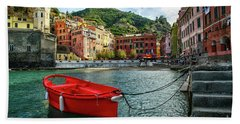 Red Boat Vernazza Cinque Terre  Hand Towel