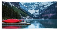Red Canoes In The Rain Hand Towel