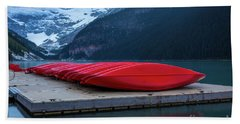 Red Canoes On The Dock Hand Towel