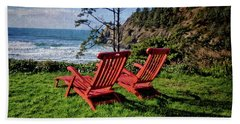 Red Chairs At Agate Beach Bath Towel