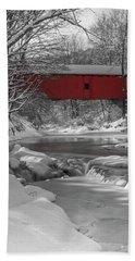 Red Covered Bridge Bath Towel