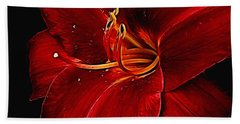 Red Daylily On Black Hand Towel