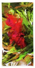Red Flower On The Branch Bath Towel