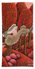 Red Forest Run Hand Towel