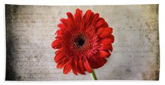 Red Gerbera Hand Towel