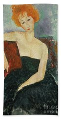 Red Headed Girl In Evening Dress, 1918  Hand Towel