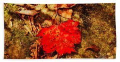 Red Leaf On Mossy Rock Hand Towel