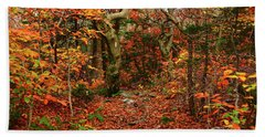 Bath Towel featuring the photograph Red Oaks And At Blaze Horizontal by Raymond Salani III