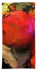 Red Pomegranate In The Yellow Light Bath Towel