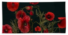 Red Poppies On Black Bath Towel