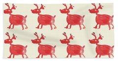 Red Reindeer Pattern Hand Towel