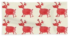 Red Reindeer Pattern Bath Towel