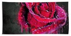 Red Rose Drop Bath Towel