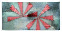 Red Triangles On Blue Grey Backdrop Bath Towel