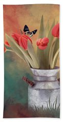 Red Tulips With Butterflies Bath Towel