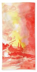 Red Village Abstract 1 Hand Towel
