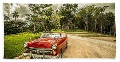 Red Vintage Car Bath Towel