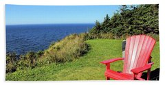 Red Chair By The Ocean Hand Towel