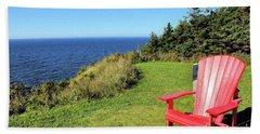 Red Chair By The Ocean Bath Towel