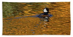 Reflecting With Hooded Merganser Bath Towel