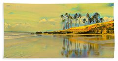 Reflection Of Coastal Palm Trees Bath Towel