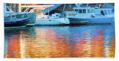 Reflections At Dusk In Camden Harbor, Maine Bath Towel