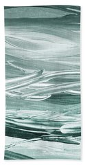 Relaxing Gray Abstract Meditative Lines II Bath Towel