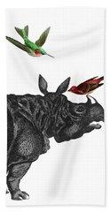 Rhinoceros With Birds Art Print Bath Towel