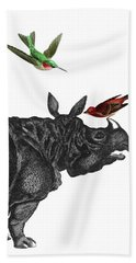 Rhinoceros With Birds Art Print Hand Towel