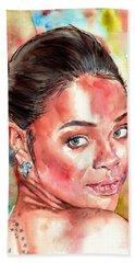 Rihanna Portrait Hand Towel