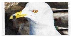 Ringbilled Gull Portrait Bath Towel