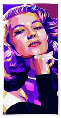Rita Hayworth Illustration Bath Towel