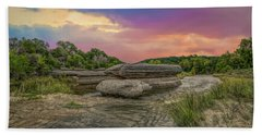 River Erosion At Sunset Bath Towel