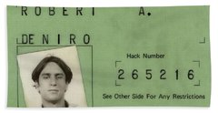Robert De Niro's New York City Taxi Driver License 1976 Bath Towel