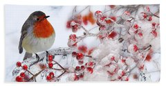 Robin And Berries Hand Towel