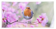 Robin On Pink Flowers Hand Towel