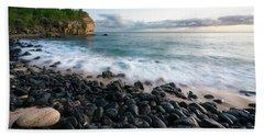 Rocky Beach In Kauai At Sunset Bath Towel